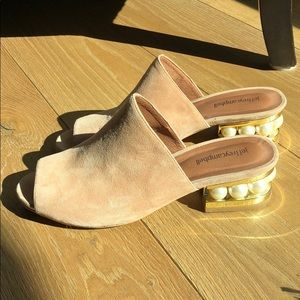 Jeffrey Campbell nude open toed heels with pearls